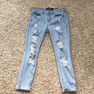 Hollister low rise super skinny crop jeans